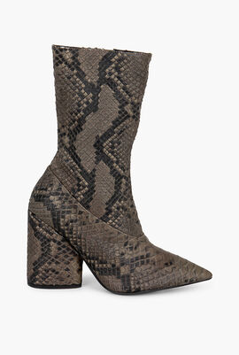 Python-Skin Leather Boots