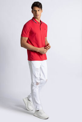 Regular Fit Piped Neck Flamme Polo Shirt