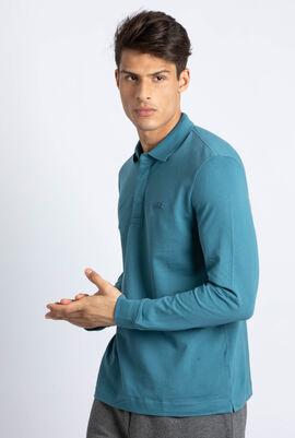 قميص بولو من نسيج مرن ذو قصة كلاسيكية وأكمام طويلة