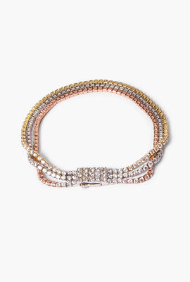 Three-Tone Triple Strand Tennis Bracelet with Cubic Zirconia