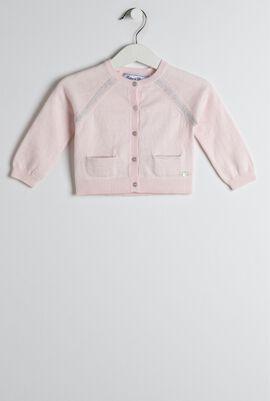 Pink Contrast Trim Cardigan
