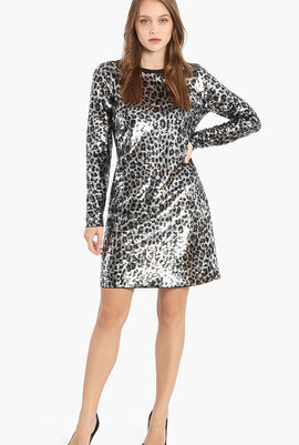 Elvcheetah Sequins Long Sleeves Dress