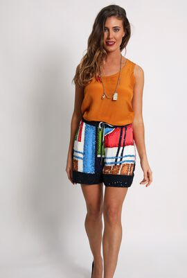 Sequins Embellished Mini Shorts
