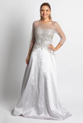Illusion Neck Embroidered Gown