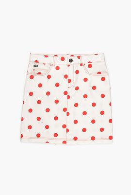 Polka Dot Print Cotton Jean Skirt
