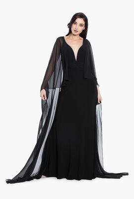Cape Sleeves Long Dress