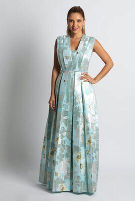 Jacquard Flower Sleeveless Gown