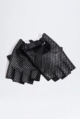 Perforated Fingerless Leather Gloves