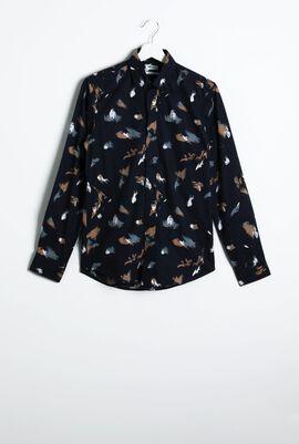 قميص ذو قَصَّة ضيقة وأكمام طويلة بتصميم مطبوع