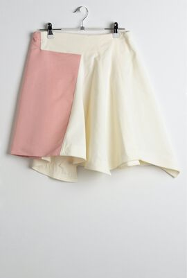 OWA YURIKA - Cream Asymmetric Two-Tone Skirt