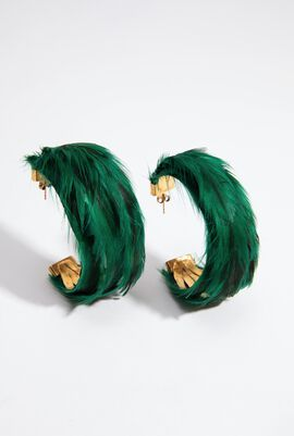 Green Feather Hoops