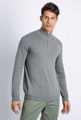 Zip Stand-Up Neck Cotton Sweater
