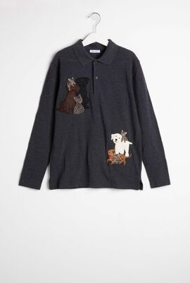 Animal Patch Long Sleeve Polo Shirt