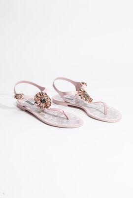 Crystal-Embellished Thong Strap Sandals