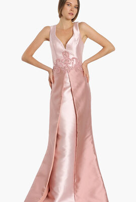 Sleeveless Cape Gown