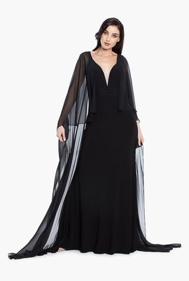 Cape Sleeves Long Dress