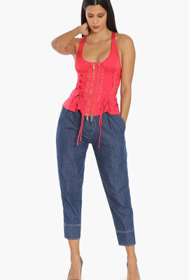 Zip and Lacing Detailed Top