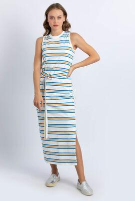 Rainbow Striped Cotton Long Dress