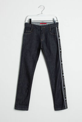 Slim Fit Logo Tape Jeans