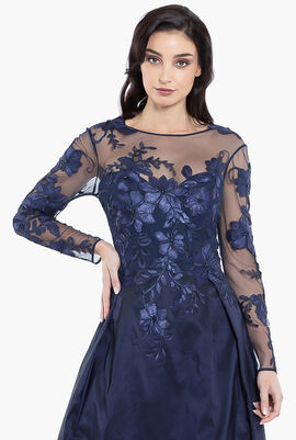 Floral Embroidery Top Gown