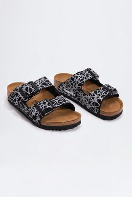 Arizona Birko-Flor Reflective Lines Black Boy's Sandals