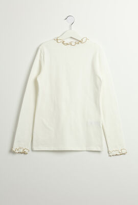 Ruffled Trim Long Sleeves Top