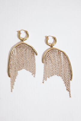 Latham Strass Chain Hoop Earrings