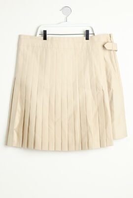 Plain Pleated Overlap Design Skirt
