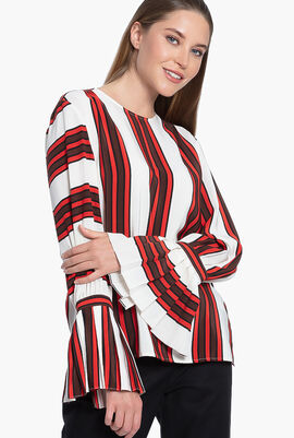 Striped Flare-Sleeve Blouse