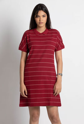 Striped Honeycomb Cotton Polo Dress