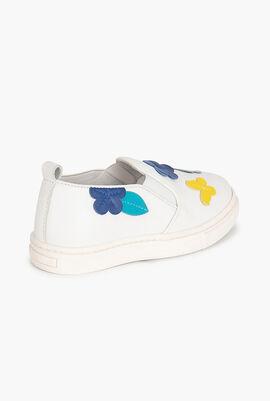 Flower Patch Leather Slip-On Sneaker