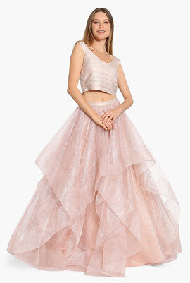 Off Shoulder Jersey Tulle Gown