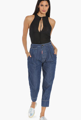 Cotton High-Waisted Cropped Pants