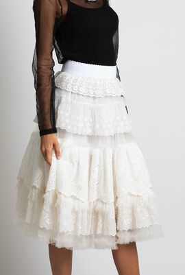 Eyelet Embroidered and Feather Skirt