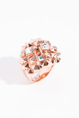 Pyramid Cluster Rose Gold Ring, 55 mm