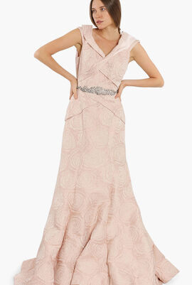Off Shoulder Jacquard Gown