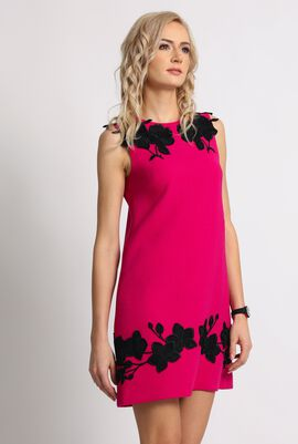 Floral Patch Embellished Midi Dress
