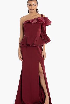 Asymmetric Ruffles SL Crepe Gown