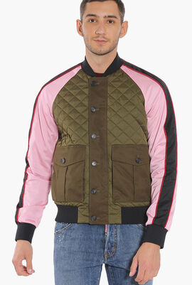 Quilted Colourblock Bomber Jacket
