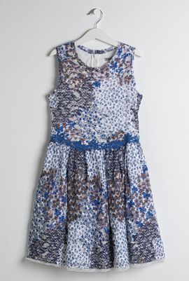 White & Blue Floral Print Dress