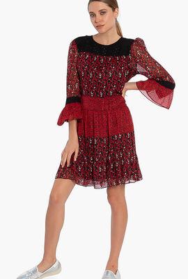 Mixed Floral Leaf-Print Georgette Dress
