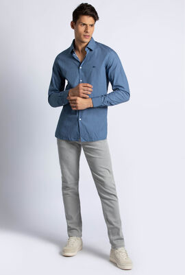 Slim Fit Print Cotton Poplin Shirt