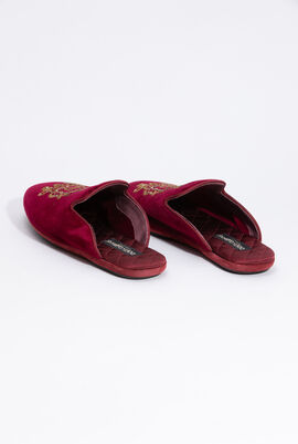 Velvet Sequins Embellished Slides