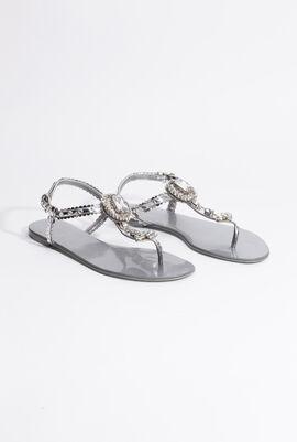 Crystal Embellished Thong Sandals