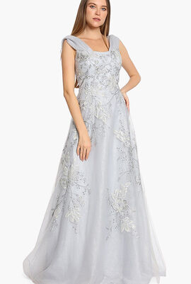 Tulle Off Shoulder Embroidered Gown
