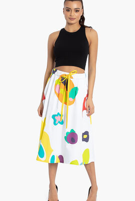 Monster Print A-Line Skirt