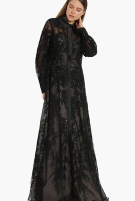 Floral Lace Evening Gown