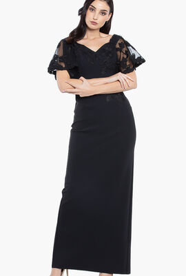 Off Shoulder Trumpet Lace Sleeves Gown