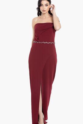 One Sided Off Shoulder Jewel Dress
