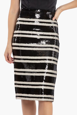 Rue Embroidery Stripe Pencil Skirt